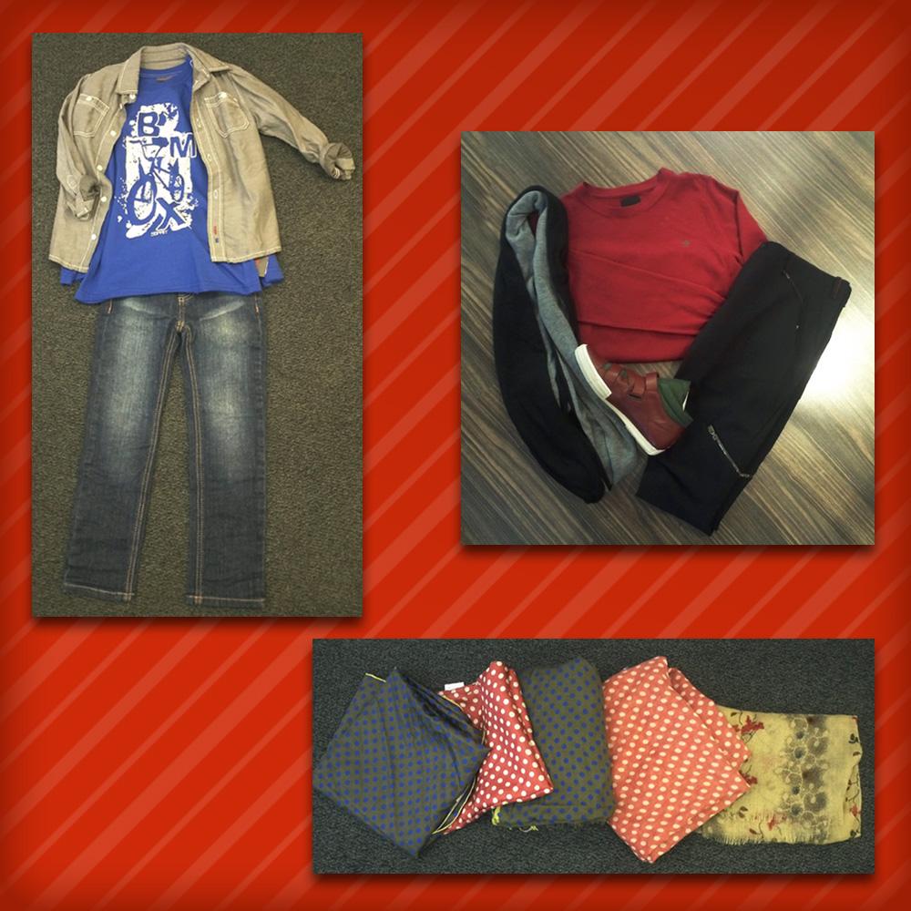 Homme: Pull G-STAR, Pantalon & baskets Marithé+Francois Girbaud, Echarpe IKKS • Femme: Foulards & chèches Bellerose • Mino: Total look Esprit