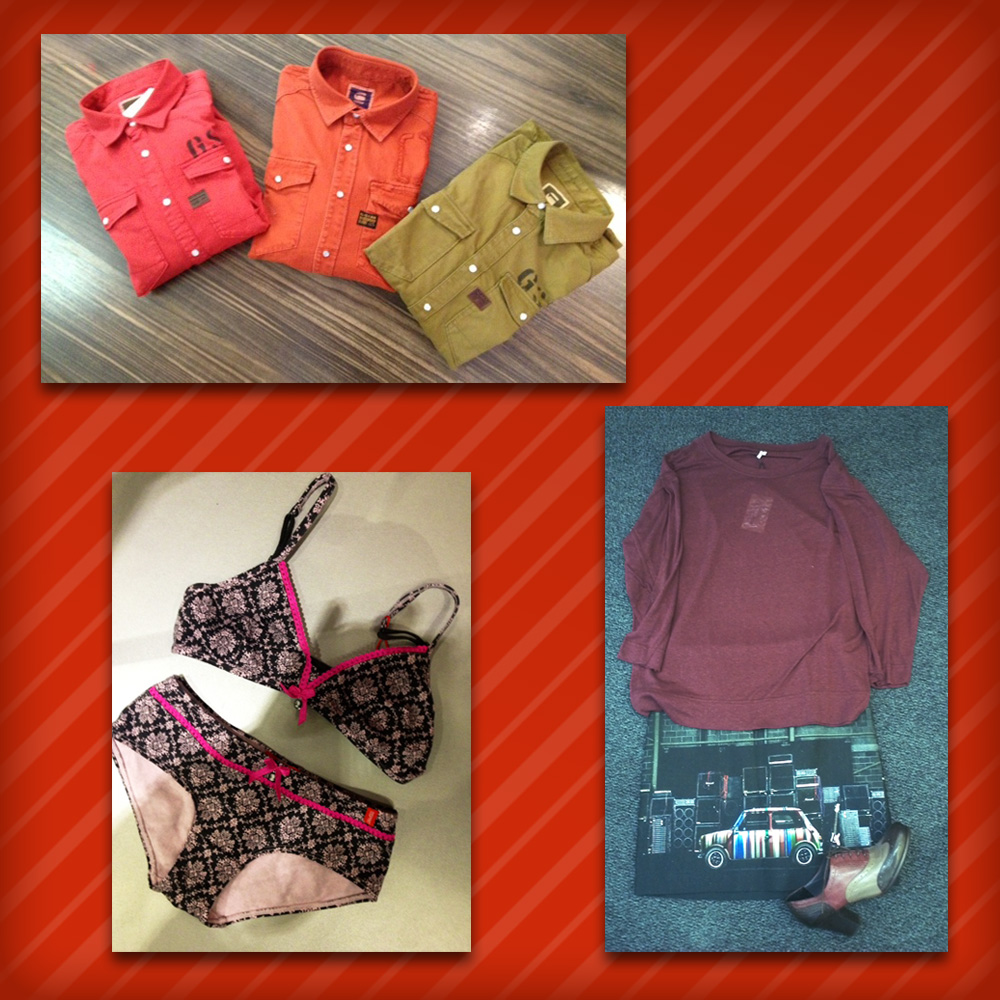 Homme: Chemises G-STAR • Femme: T-shirt Iro, Jupe Paul Smith, Richelieu Alberto Fermani • Mino: Ensemble lingerie EDC