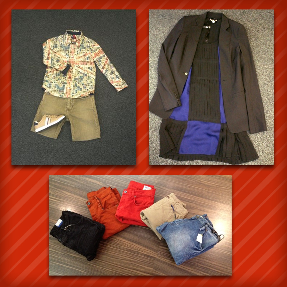 Homme: Pantalons G-STAR • Femme: Robe & Blaser Liu Jo • Mino: Chemise Paul Smith, Baskets Paul Smith, Pantalon velours Bellerose