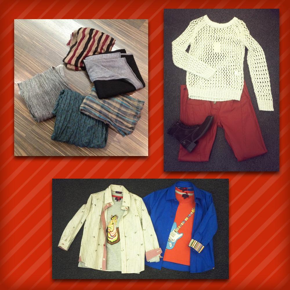Homme: Echarpe et chèches IKKS • Femme: Pull Iro, Pantalon Fireface, Chaussures Alberto Fermani • Mino: Chemises & T-Shirts Paul Smith