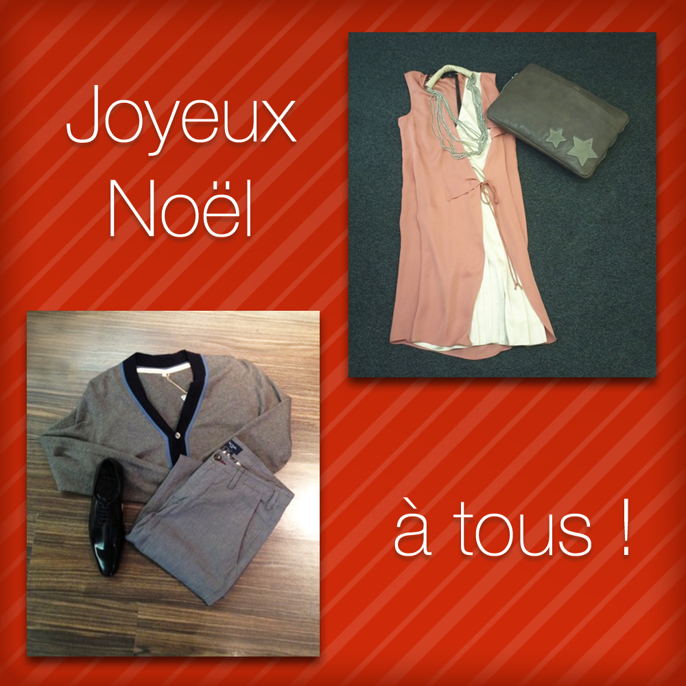 Homme: Gilet Paul&Joe,  Pantalon à pince Paul Smith, Chaussures Paul Smith • Femme: Robe Liu Jo, Collier Liu Jo, Pochette Mila Louise